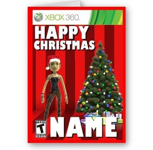Personalised Name and Xbox Live Avatar A5 Happy Christmas Xbox 360 Card