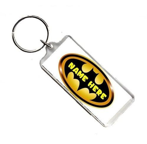 Personalised Name, Batman, Number Plate Style Rectangle Keyring
