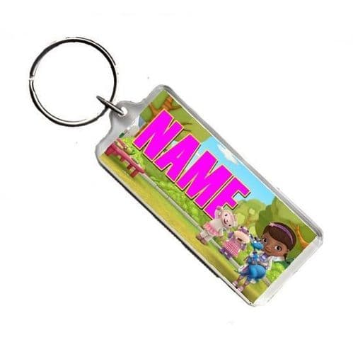 Personalised Name, Disney Doc McStuffins, Number Plate Style Rectangle Keyring