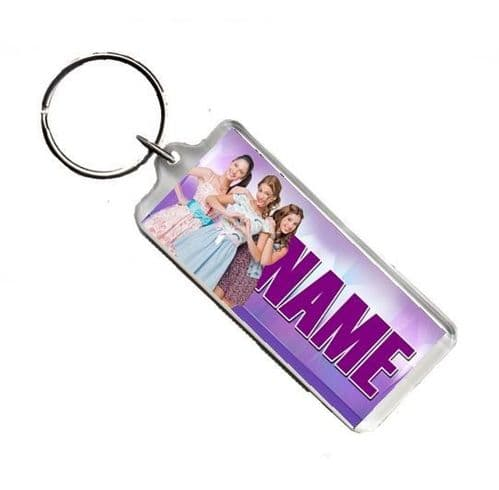 Personalised Name Disney Violetta, Number Plate Style Rectangle Keyring