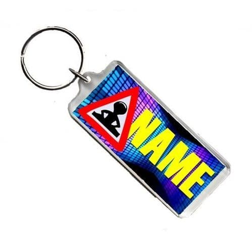 Personalised Name, DJ, Number Plate Style Rectangle Keyring