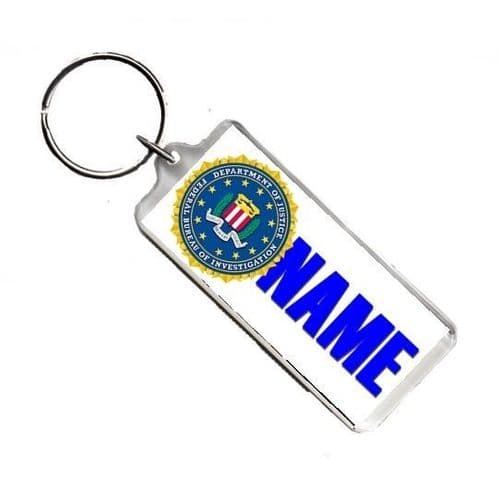 Personalised Name FBI, Number Plate Style Rectangle Keyring