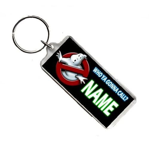 Personalised Name Ghostbusters, Number Plate Style Rectangle Keyring
