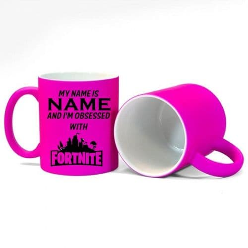 Personalised Name, I'm Obsessed With Fortnite Fluorescent Neon Pink Mug