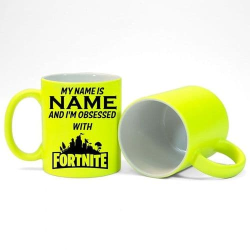 Personalised Name, I'm Obsessed With Fortnite Fluorescent Neon Yellow Mug
