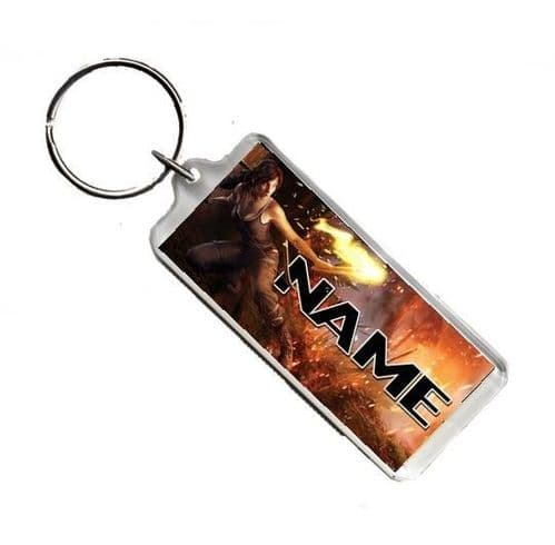 Personalised Name Lara Croft Tomb Raider, Number Plate Style Rectangle Keyring