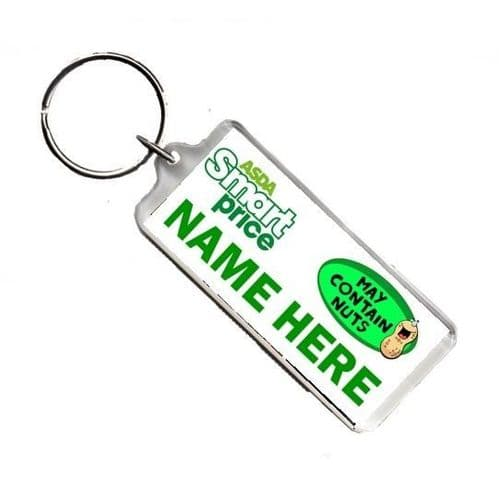 Personalised Name, Smart Price, May Contain Nuts, Number Plate Style Keyring