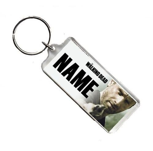 Personalised Name, The Walking Dead, Rick, Number Plate Style Rectangle Keyring