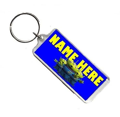 Personalised Name Toy Story Aliens, Number Plate Style Rectangle Keyring