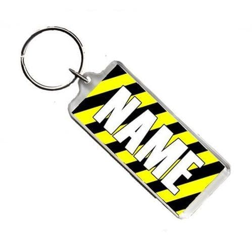 Personalised Name, Warning, Police Tape, Number Plate Style Rectangle Keyring
