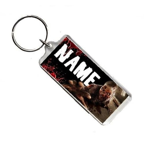 Personalised Name Zombie, Walking Dead, Number Plate Style Rectangle Keyring