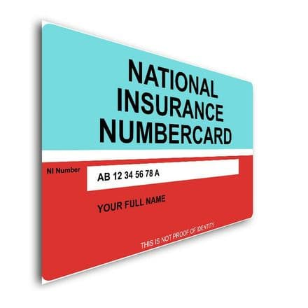 Personalised National Insurance Number Plastic Credit ID Card Size 85mm X 55mm