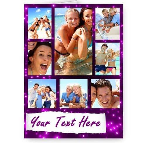 Personalised Party Collage Photos & Message A5 Christmas, Birthday, All Occasion Card