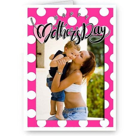 Personalised Photo Added A5 Girly Pink Happy Mothers Day Card New & Sealed.