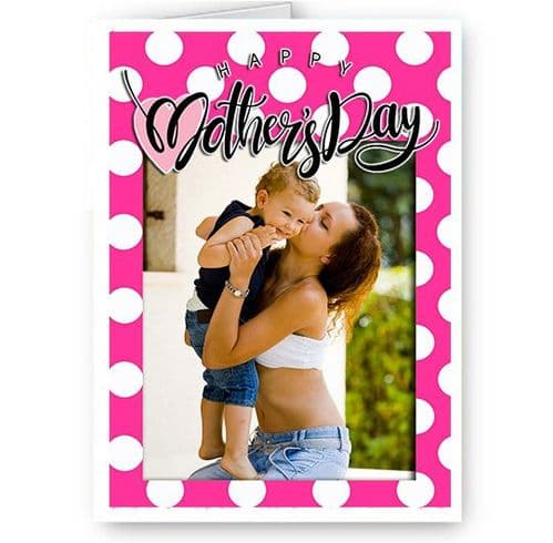 Personalised Photo Added A5 Girly Pink Happy Mothers Day Card New & Sealed