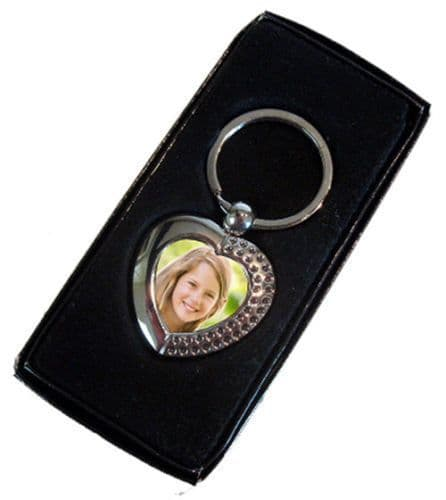 Personalised Photo Added, Heart Shape Single Sided Metal Keyring, With Gift Box