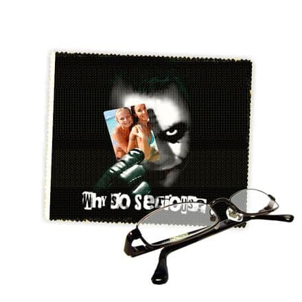 Personalised Photo Added Joker Why So Serious Reading Glasses Lens Cleaning Cloth 18cm X 15cm