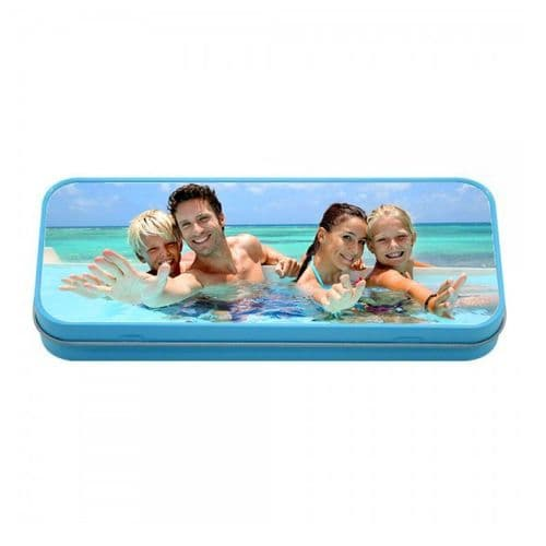 Personalised Photo Blue Tin Pencil Case, 190mm X 80mm X 35mm
