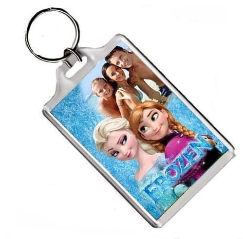 Personalised Photo Disney Frozen Anna & Elsa Keyring or Fridge Magnet