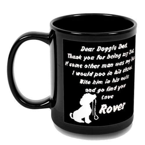 Personalised Photo & Dog Name, Dear Doggie Dad, Full Black Colour 11oz