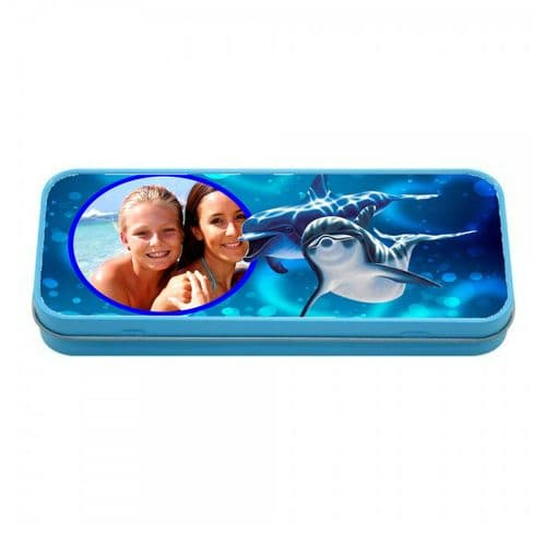 Personalised Photo Dolphins Blue Tin Pencil Case, 190mm X 80mm X 35mm