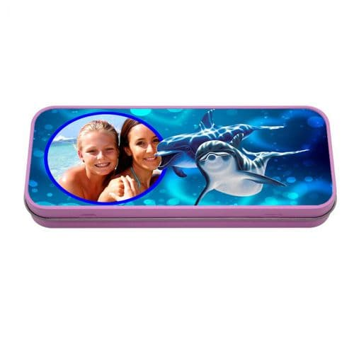 Personalised Photo Dolphins Pink Metal Tin Pencil Case, 190mm X 80mm X 35mm