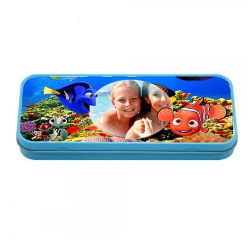 Personalised Photo Finding Dory, Nemo Blue Metal Tin Pencil Case, 190mm X 80mm X 35mm