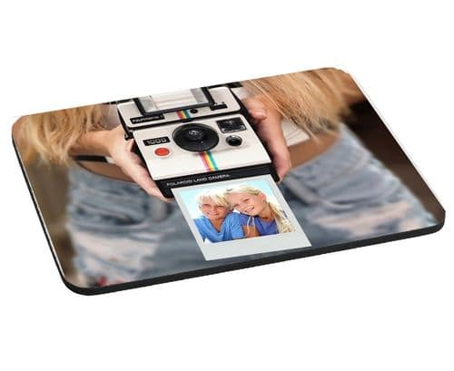 Personalised Photo Girl with Polaroid Camera 220mm X 180mm, 5mm Thick Mouse Mat, Pad