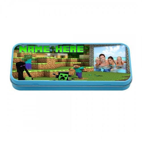 Personalised Photo & Name Minecraft Blue Metal Tin Pencil Case, 190mm X 80mm X 35mm