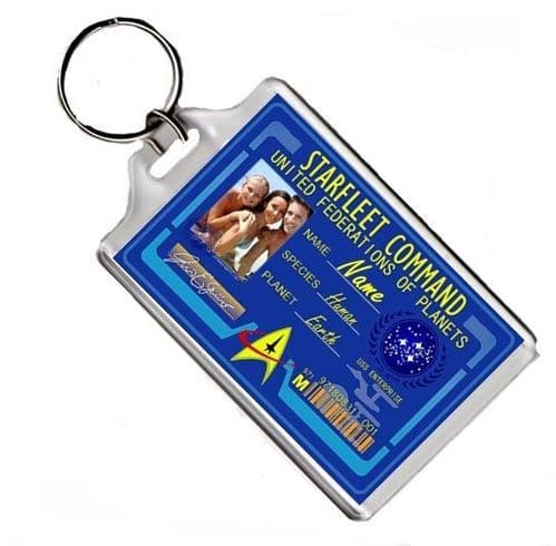Personalised Photo & Name Starfleet Command ID Keyring or Fridge Magnet