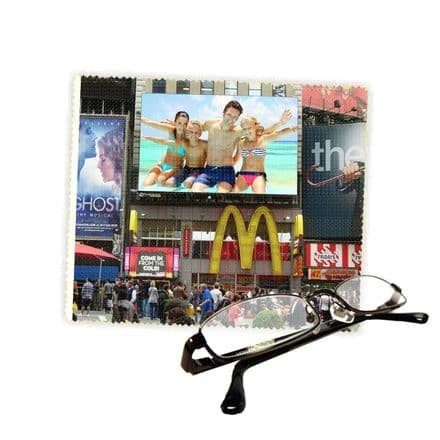 Personalised Photo New York Times Square Reading Glasses Lens Cleaning Cloth 18cm X 15cm