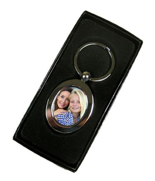 Personalised Photo, Oval Shape Single Sided Metal Keyring, With Gift Box