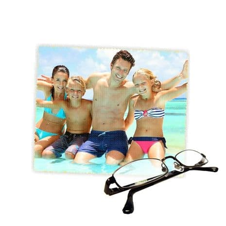 Personalised Photo Reading Glasses Lens Cleaning Cloth 18cm X 15cm.