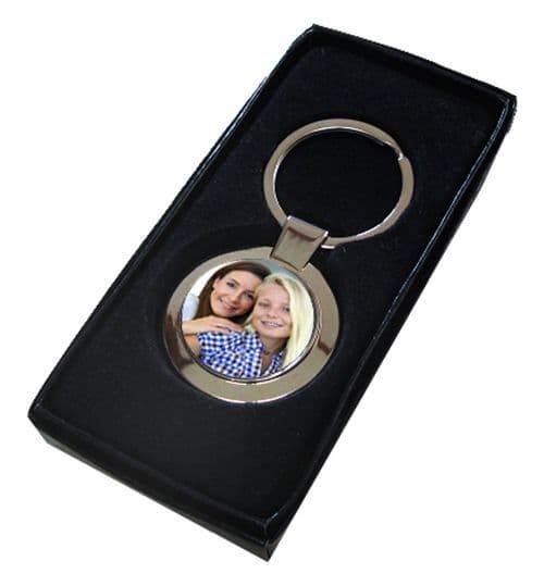 Personalised Photo, Round Shape, Single Sided Metal Keyring, With Gift Box