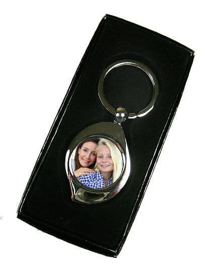 Personalised Photo, Tear Drop Shape, Single Sided Metal Keyring, With Gift Box