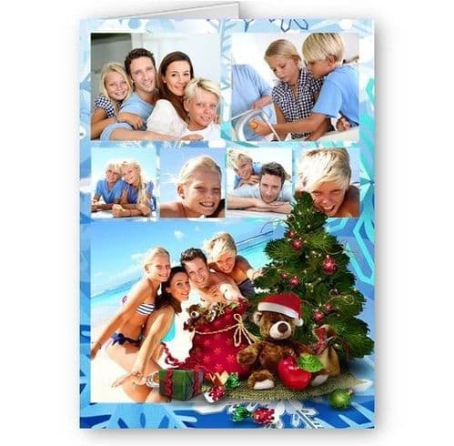 Personalised Photos, Christmas Collage Theme, A5 Card With Red Envelope