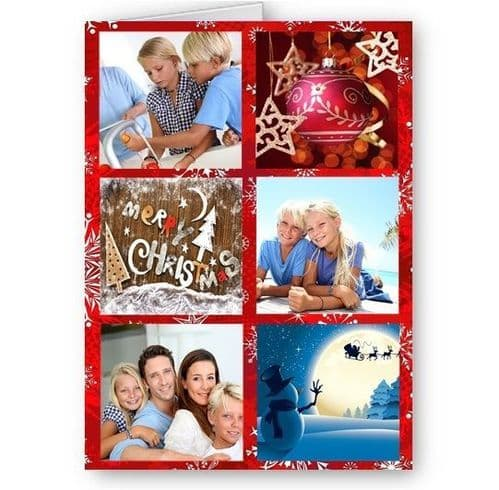 Personalised Photos, Christmas Theme, A5 Card With Red Envelope