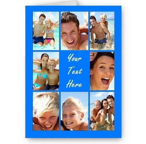 Personalised Photos & Message Collage All Occasion A5 Blue Card, Birthday & More