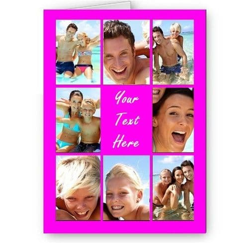 Personalised Photos & Message Collage All Occasion A5 Pink Card, Birthday & More