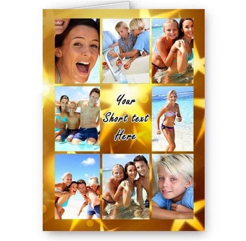 Personalised Photos & Message Gold Stars Collage All Occasion A5 Card, Birthday & More