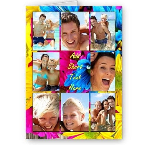Personalised Photos & Message Multi Coloured Flowers Collage All Occasion A5 Card, Birthday & More
