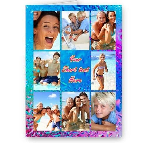 Personalised Photos & Message Pink, Blue Rain Collage All Occasion A5 Card, Birthday & More