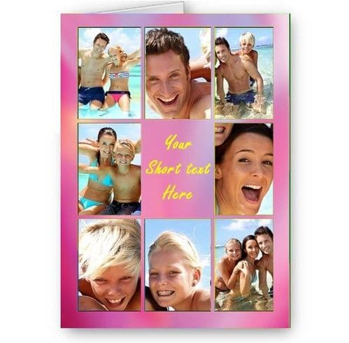 Personalised Photos & Message PPink Effect Collage All Occasion A5 Card, Birthday & More