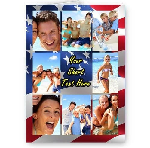 Personalised Photos & Message USA Flag Collage All Occasion A5 Card, Birthday & More