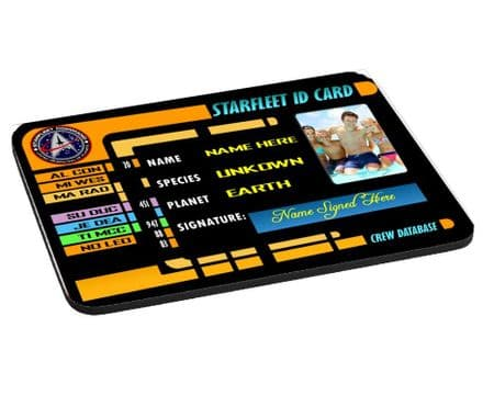 Personalised Photos & Name Star Trek Starfleet ID Card Mouse Mat, Pad