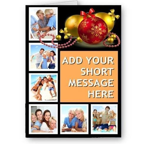 Personalised Photos & Short Message, Christmas Theme, A5 Card