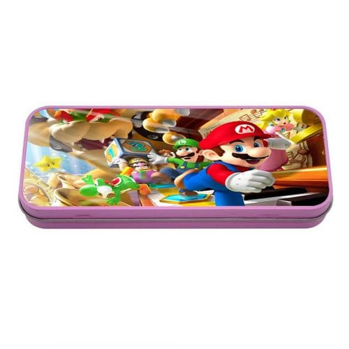 Personalised Super Mario Pink Metal Tin Pencil Case, 190mm X 80mm X 35mm