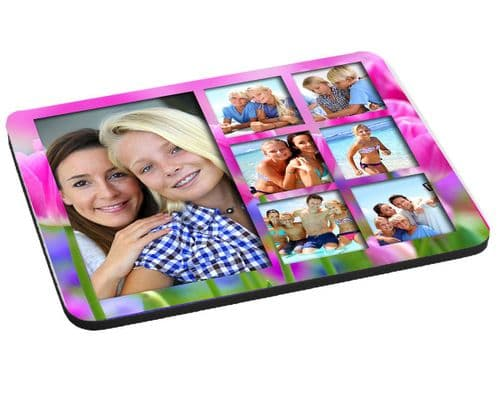 Pink Flowers Theme 7 Photo Collage Mouse Mat, Pad 220mm x 180mm, 5mm Thick