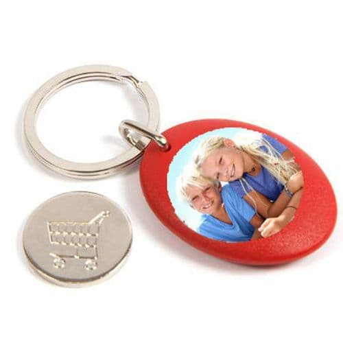 Red Plastic Personalised Keyring, Shopping Trolley Pound Coin - 25mm