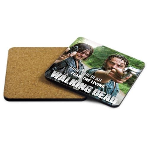 Rick & Daryl, Fight The Dead, Fear The Living, The Walking Dead MDF Strong Coaster 9cm X 9cm